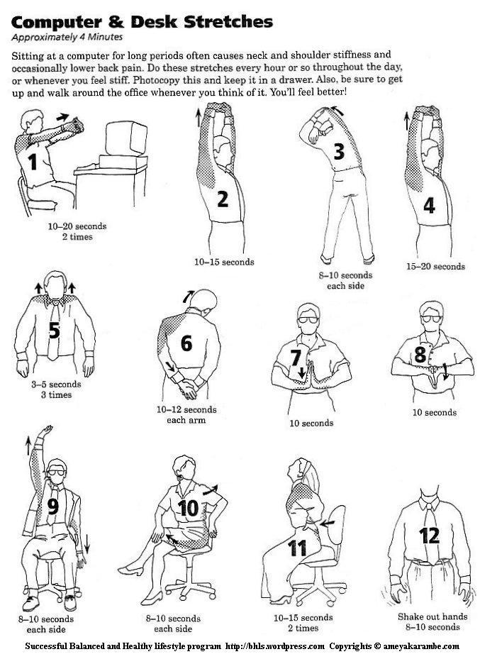 Stuck behind a computer sitting at a desk for long periods of time?  Check out these stretches you can do to reduce the strain, and you don't even have to get up! http://bhls.files.wordpress.com/2011/08/computer_and_desk-stretches.jpg